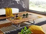 KADIMA DESIGN Mesa de centro ASUR 115 x 25 x 58 cm, madera de acacia maciza, estructura de metal, gran tronco de árbol, mesa de salón, madera maciza, color marrón, borde de árbol, mesa de salón