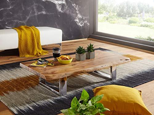 Kadima ASUR - Mesa de café (115 x 25 x 58 cm, Madera de Acacia, Estructura de Metal, Tronco Grande, Madera Maciza, Bordes de árbol), Color marrón