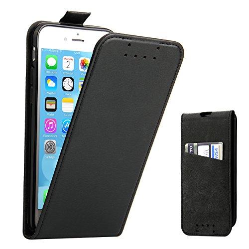 Supad iPhone 7 Hülle, iPhone 8 Hülle, Leder Tasche für Apple iPhone 7/8 4,7 Zoll Handyhülle Flip Hülle Schutzhülle (Schwarz)