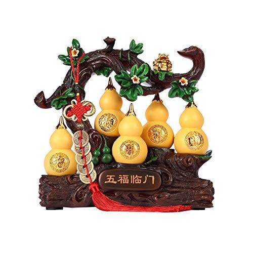 Estatua de Buda Lucky Gourd Decoración Artesanía Wu Lou Housewarming New Home Gift Gabinete de vino Decoración de entrada Feng Shui Statue Symbolizing Health Estatua Buda Sentado ( Size : Medium )