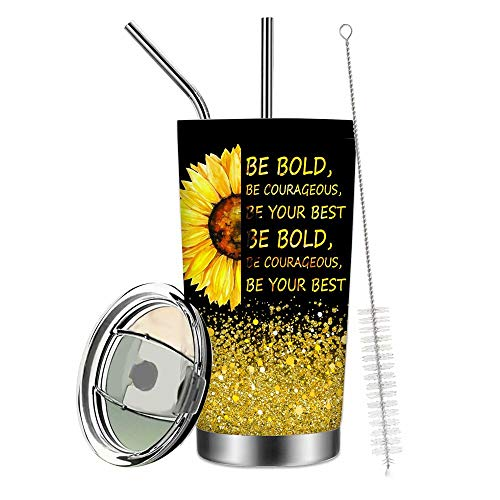 Be Bold, Be Courageous, Be Your Best Vacuum Tumbler Cups Sunflower You Are My Sunshine Coffee Mugs with Lid,Sunshine Bottle for Travel,Work,Fitness Cold Warm Beverage