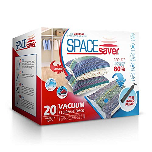 Spacesaver Premium Vacuum Storage Bags (5 x Small, 5 x Medium, 5 x Large, 5 x Jumbo) (80% More Storage Than Leading Brands) Free Hand Pump for Travel! (Variety 20 Pack)