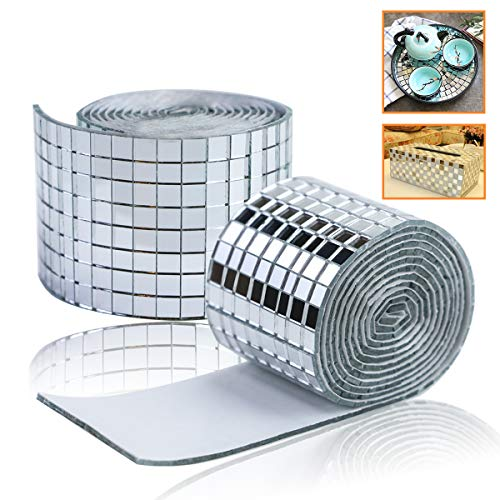 YG_Oline 3200 Pcs 5 x 5 mm Glass Tiles for Crafts, 2 Roll Mini Square Glass Mirror Tiles Self Adhesive Mirror Strips for Wall
