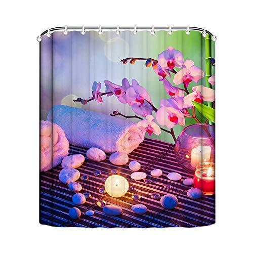 EricauBird Shower Curtain-Fabric Spa Decor by, Bathroom Zen Garden Design for Decor View for Bathroom Pink Flower Asian Zen Massage Stone with Scented Candles, Bathroom Decor 68x72