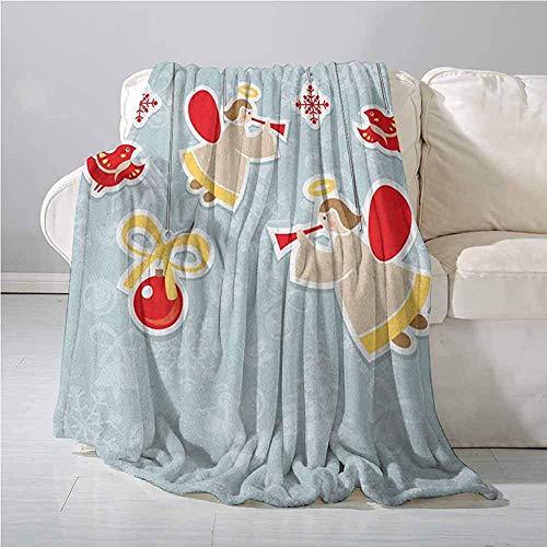 mallcentral-EU Engels-Decken-Fee, die Trompeten-Halo-geistige Flügel mit Weihnachtsvogel-Ball-Feier-Decke rotes beige blaues Grau spielt