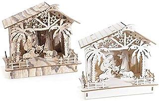 Capanna presepe natività natale decorazione natalizia in legno laser con luce led idea regalo natalizio handmade made in i...