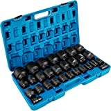 VEVOR Impact Socket Set 3/4 Inches 29 Piece Impact Sockets, 6-Point Sockets, Rugged Construction, CR-M0, 3/4 Inches Drive Socket Set Impact SAE 3/4 inch - 2-1/2 inch, with a Storage Cage
