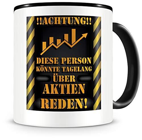 Samunshi® Aktien Tasse mit Spruch Geschenk für Aktien Fans Männer Frauen Kaffeetasse groß Lustige Tassen zum Geburtstag schwarz 300ml