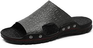 SHENLIJUAN Leisure Sandals for Men Open Toe Slippers Breathable Non-Slip Rivet Reinforcement Beach Shoes Leather Upper Lightweight Wear Resistant