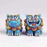 AMYZ Par de estatuas de los Leones de Beijing,Lindos Perros Fu Foo,Mascota China,Riqueza,Porsperidad,protección contra la energía Malvada,decoración Feng Shui,Azul