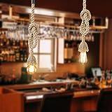 LEDMOMO 1M Vintage Cuerda de cáñamo gruesa sola cabeza colgante de cáñamo lámpara de cuerda luces colgantes para el restaurante del dormitorio Cafe Bar Decoración de...