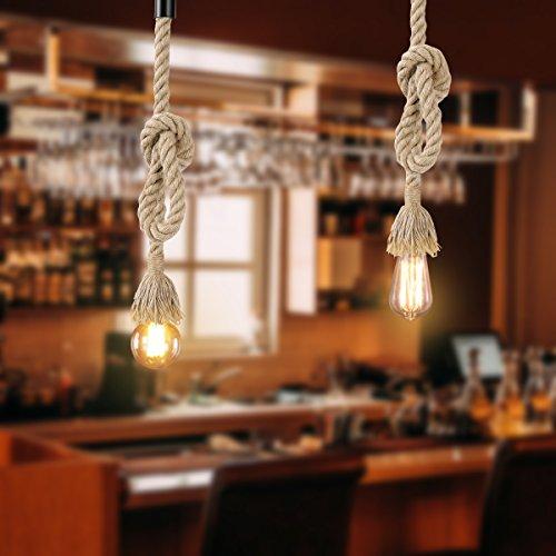 LEDMOMO 1M Vintage Cuerda de cáñamo gruesa sola cabeza colgante de cáñamo lámpara de cuerda luces colgantes para el restaurante del dormitorio Cafe Bar Decoración de estilo rural