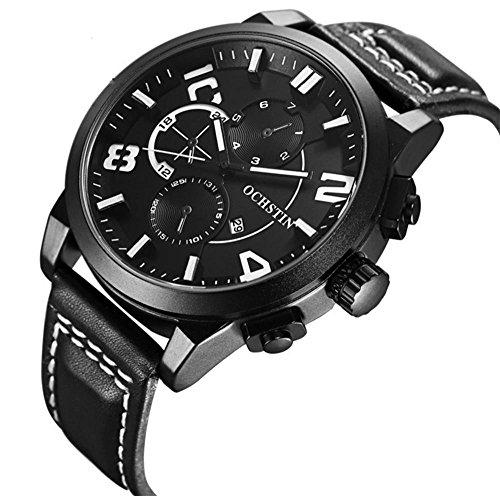 CcCoCc Herrenuhren Griff Anzeigen Monokulare Sport Wasserdichte Ledergürtel Uhr, 005