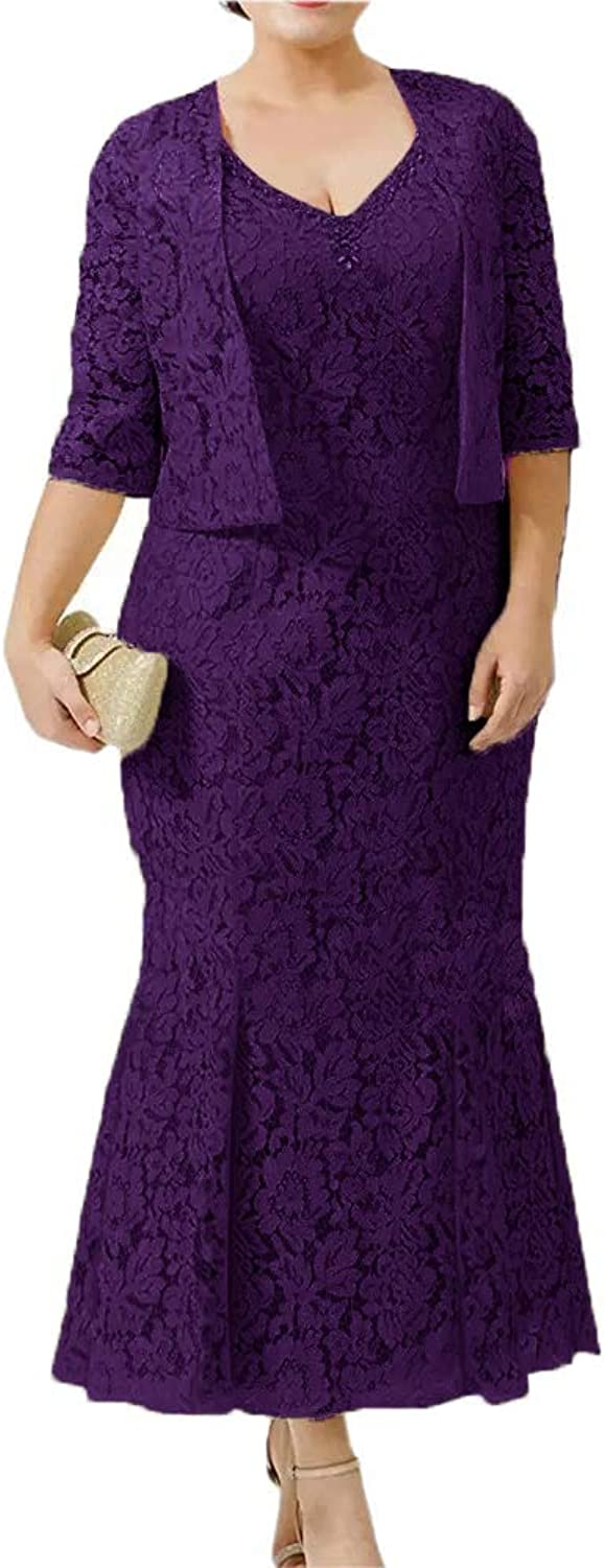 CLOTHSURE Womens V Neck Lace Mother of The Bride Dresses with Jacket Mermaid Wedding Party Dresses Two Pieces Plus Size