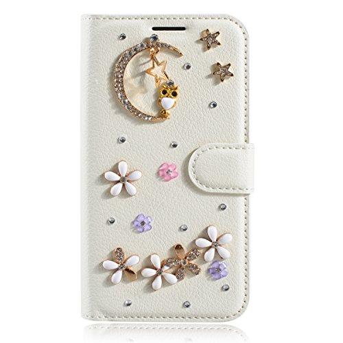 LG V60 ThinQ 5G Hülle, Gift_Source [Mond] Handytasche Bling Glitzer Diamant Strass Funkeln Handyhülle PU Leder Hülle Brieftasche Schutzhülle mit Kartenfach & Standfunktion für LG V60 ThinQ 5G (6.8