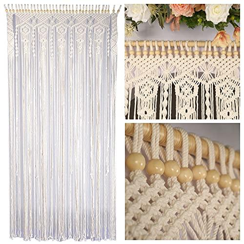 """Macrame Beaded Curtains for Doorways, Door Window Curtains, Macromay Wall Decor, Macrame Curtain Panel, Macrame Door Curtains Boho Wedding Decor, Macrame Wedding Backdrop, 35"""" x 77"""", Beige"""