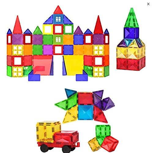 QQJL Bloques de construcción magnética Azulejos Juguete 100 + 10pc niños aprendiendo Juguetes de construcción educativa para niños Niñas Presente Edad 3 4 5 6 7 años de Edad - Regalo