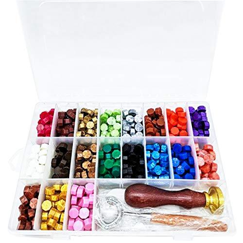 760 perline ottagonali di ceralacca con scatola + 2 candele da tè + 1 cucchiaio per ceralacca + timbro per sigillo per lettere con motivo casuale, 19 colori