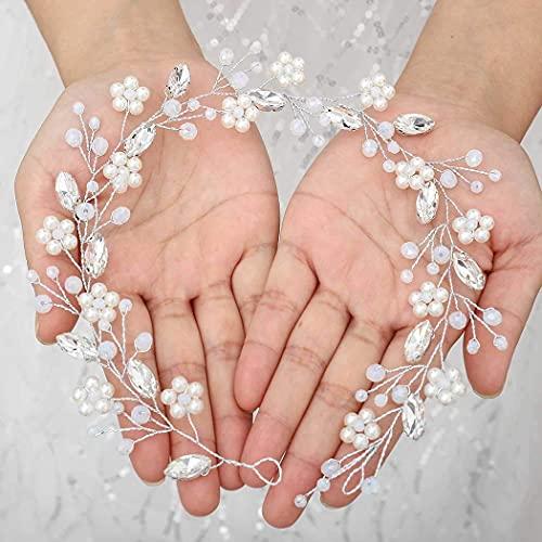 Vakkery - Cerchietto per capelli da sposa, con perle argentate, con cristalli, elegante accessorio per capelli da sposa per donne e ragazze