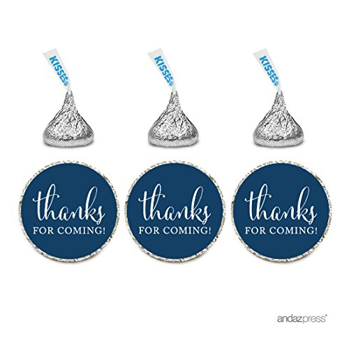 Andaz Press Chocolate Drop Labels Stickers, Thanks for Coming!, Navy Blue, 216-Pack, For Wedding Birthday Party Baby Bridal Shower Hershey's Kisses Party Favors Decor Envelope Seals