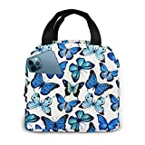 Blue Butterfly Lunch Bag Lunchbox Insulated Large Capacity Freezable Cooler Thermal Reusable...