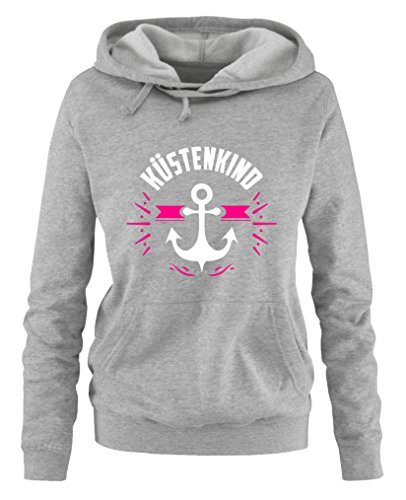 Comedy Shirts - Küstenkind Anker - Damen Hoodie - Grau/Weiss-Pink Gr. L