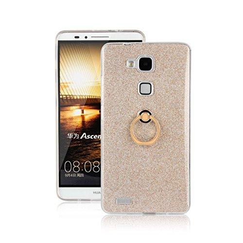 pinlu Funda Para Huawei Ascend Mate 7 (6pulgada) Anti-Arañazos Función Flash Brillante Suave TPU Silicona Case Ultra Delgada Hebilla del Anillo Soporte Diseño Gold