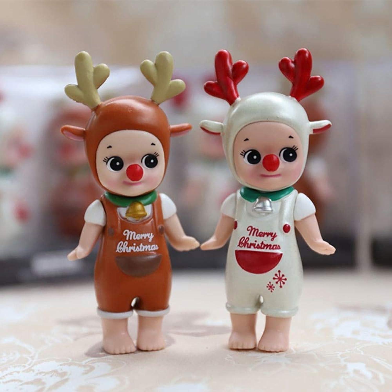 TUDUDU 2Pcs Set Car Ornament Pvc Elk Angel Doll Cartoon Cute Decoration Auto Interior Angel Figure Model Toy Accessories