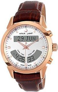 الساعة الفاخرة مع سير جلد طبيعي من الفجر للرجال دبليو اي - 10 بي اللون البني والأبيض