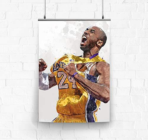 Kobe Bryant Celebration Los Angeles Lakers Poster/Canvas Print - Basketball Artwork - Kids Room Wall Decor - Man Cave - Sports Decor - Birthday Gift Idea (Premium Poster, 24 x 36 Inches) image