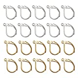 TOAOB 200pcs French Earring Hooks Leverback Earwires 10x15mm Silver and Gold Plated Metal Brass Hypoallergenic...