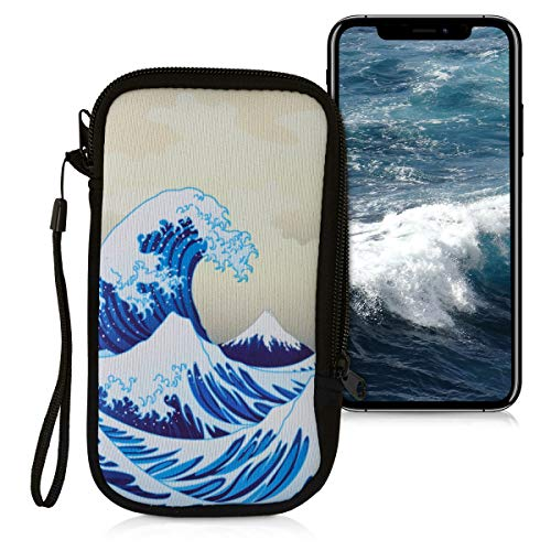 """kwmobile Neoprene Sleeve for Smartphone Size L - 6.5"""" - Shock Absorbing Pouch Case - Protective Phone Bag - Japenese Wave Blue/White/Beige"""