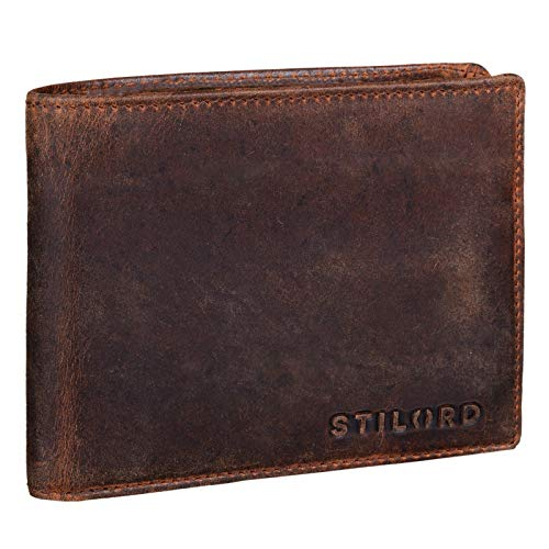 STILORD 'Ethan' Cartera de Elegante Piel Vintage para Hombre Billetera y Monedero Masculino para Tarjetas Monedas y Billetes de auténtico Cuero, Color:Zamora - marrón