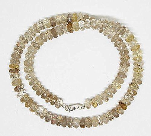 Ausgezeichnete Qualität Natur Golden Rutil Quarz facettiert Rondelle Perlen Halskette 47  lang facettierte Perlen Halskette Schmuck Größe 7,5–8