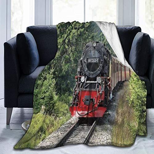 YOUMEISU Kuscheldecke Fleecedecke Flanell Decke Dampfzug Industriezeit Dampfmaschine Zug Vintage Eisenbahn Lokomotive Eisenbahn Blanket Für Bett Sofa Schlafzimmer Büro 153x204cm