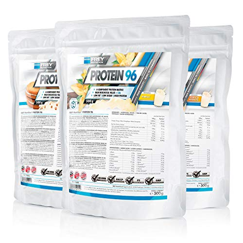 Frey Nutrition Protein 96 3 x 500g Beutel 3er Pack Vanille