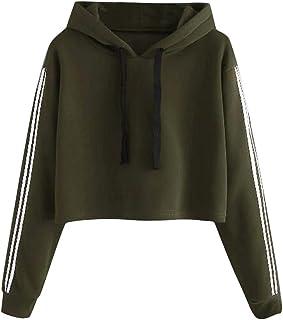 aihihe Crop Tops for Women Long Sleeve Hoodie Striped Crewneck Crop Top Sweatshirts Drawstring Pullover