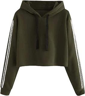 Women's Long Sleeve Casual Sweatshirt Solid Lace Up Drawstring Fashion Stripe Hoodie Tops