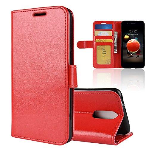 LAGUI Cover Adatto per LG K9 2018, Custodia a Portafoglio in Ecopelle Minimaliste, rosso