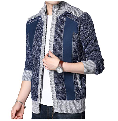 Abrigo de suéter Grueso y cálido de Invierno, cárdigan para Hombre, jerséis de Lana de Cachemir con retales, Forro de Lana con Cremallera Blue XL