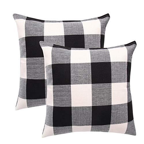 2 Stück Kissenbezüge Schottenkaro, kariert, Baumwolle Leinen Wurfkissenbezug Dekorative Kissenhülle für Zuhause Sofa Couch 61 x 61 cm, Schwarz und Weiß