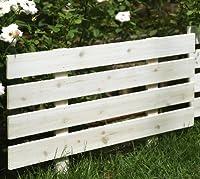 ガーデンガーデン 天然木製 花壇フェンス ボーダーフェンス スティック 1枚 ウォッシュホワイト 幅80cm×高さ49cm JSBF-8049WHT