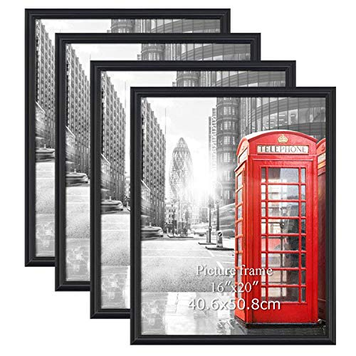 Calenzana 4 Pack 16x20 Poster Picture Frames Black Photo Frame 16 x 20 Set, Wall Hanging
