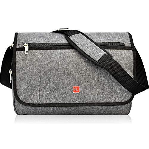 GERÄUMIGE Damen Herren Messenger Laptop Bag von KEANU :: Notebook-Fach Organizerfach großes Hauptfach 13 Liter :: Business Arbeits-Tasche Flugumhänger Umhängetasche KANTON Eindhoven (Grey Melange)