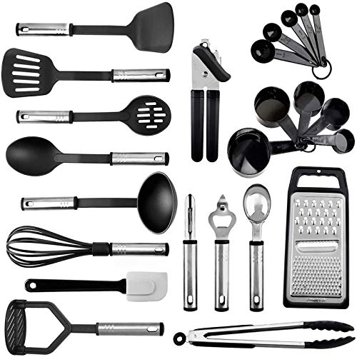 Kitchen Utensil Set 24 Nylon Cooking Utensils with Stainless Steel Handle Non-stick Heat Resistant Kitchen Gadgets Cookware Set BPA Free Non Toxic Including Turner Spatula Spoon Tongs Whisk