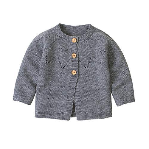 H.eternal(TM) - Chaqueta de punto para bebé o niña, para niño, jersey de ganchillo Gris gris 6-12 Meses
