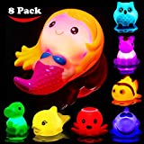 Bath Toys for Toddlers Baby 8 Pack Light Up Toys - Bathtub Toy Flashing Colourful LED Light Shower Bathtime For Kids Infants Shark, Clown fish, Owl, Unicorn, Octopus, Dolphin, Dinosaur Mermaid Toys