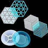 Congchuaty 3 Stück Untersetzer Silikonformen Harz Epoxidharz Guss Kunst Formen DIY Cup Mat Formen