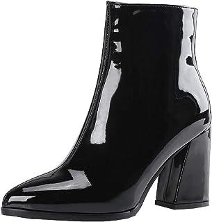 ed1e1e63571a2 Y2Y Studio Femmes Bottines Courtes Vernies avec Zip Sexy Bout Pointu Talon  Bloc 8cm Chunky Heels