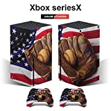 Xbox series X console and controller skins Baseball Bat Glove On A Vintage American Flag Vinyl skin decal sticker cover packaging(Xbox seriesX)
